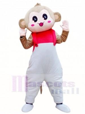 Affe im Weiß Overall Maskottchen Kostüm Tier