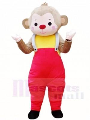 Affe im roten Overall Maskottchen Kostüm Tier