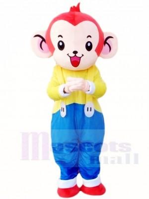 Affe im Blau Overall Maskottchen Kostüm Tier