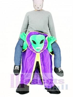 Carry Me Alien mit Umhang Pick Me Up Maskottchen Kostüm