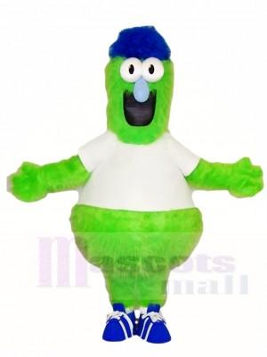 Flaumiges grünes Monster mit blauen Hut Maskottchen Kostümen