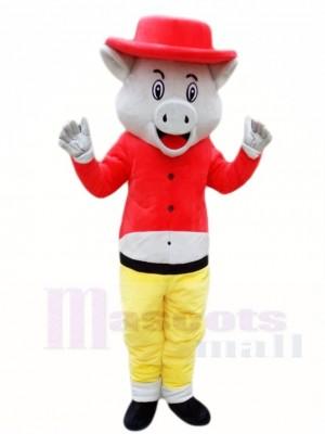 Schwein Wild Eber im rot Hut Maskottchen Kostüme Tier