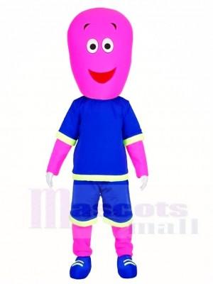 Rosa Mann in blauen Shorts Maskottchen Kostüme Menschen