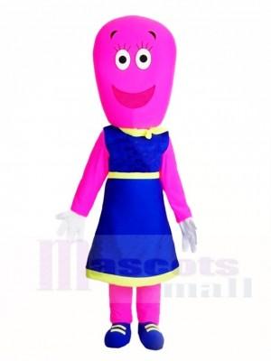 Rosa Frau im blauen Kleid Maskottchen Kostüme Menschen