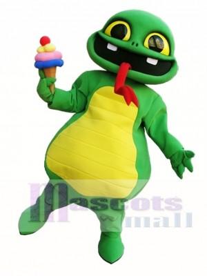 Schlange die ein Eiscreme Maskottchen Kostüm grüne Schlange Maskottchen Kostüme hält