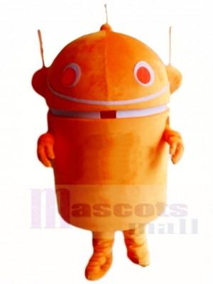 Orange androider Roboter Maskottchen Kostüm Karikatur