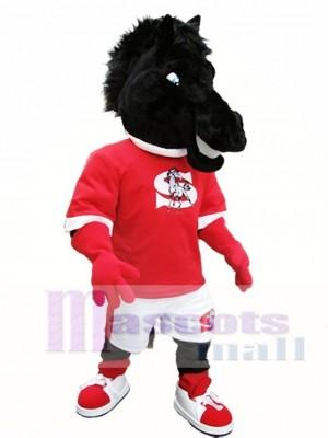 Schwarz Pferd Maskottchen Kostüm Schwarz Mustang Maskottchen Kostüme