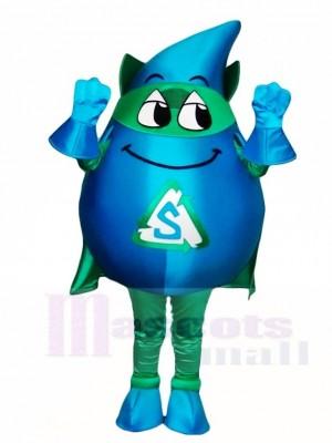 Blauer Sturm mit grünen Umhang Maskottchen Kostümen