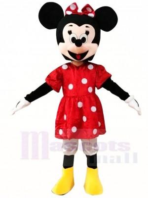 Minnie Mouse in roten Maskottchen Kostümen Karikatur
