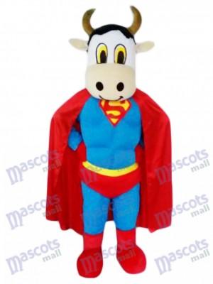 Super Cow Rinder mit Supermann Cape Maskottchen Kostüm Tier