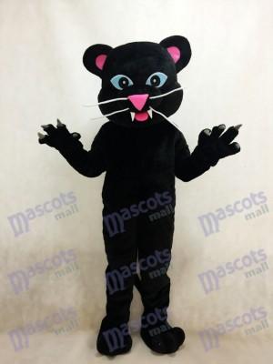 Schwarz Panther Maskottchen Kostüm mit blauen Augen