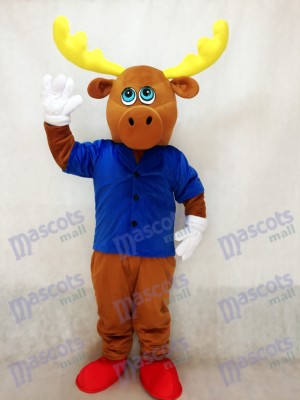 Netter Brown-männlicher Elch mit Jacken Maskottchen Kostüm