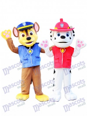Marshall und Chase Pfote Patrol Maskottchen Kostüm Cartoon Anime