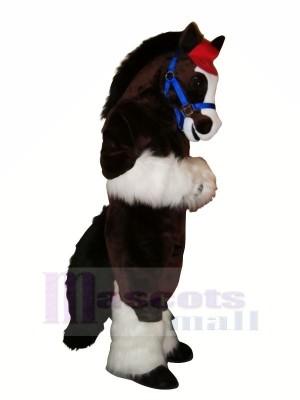Süß Pferd mit Lange Schwanz Maskottchen Kostüme Karikatur