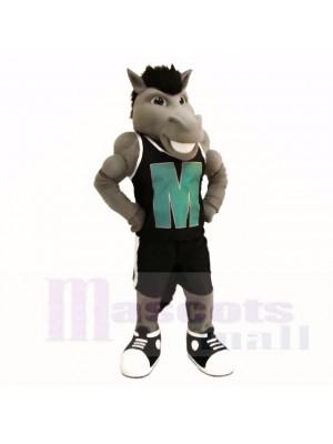 Grau Leistung Mustang mit Schwarz Hemd Maskottchen Kostüme Schule