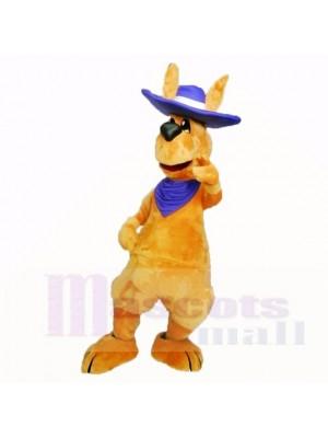 Freundlich Erwachsene Känguru mit Blau Hut Maskottchen Kostüme Erwachsene