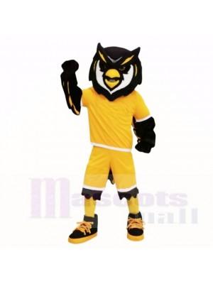 Sport Eule mit Gelb Hemd Maskottchen Kostüme Erwachsene