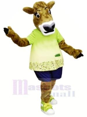 Gurt Kuh mit Grün T-Shirt Maskottchen Kostüme
