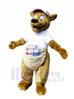 Braun Känguru mit Weiß T-Shirt Maskottchen Kostüme