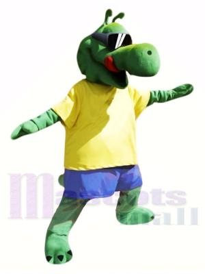 Cool Alligator mit Gelb T-Shirt Maskottchen Kostüme Tier