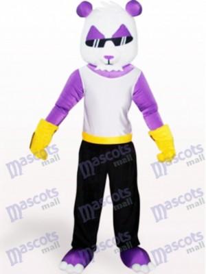Lila Panda Tier Erwachsene Maskottchen Kostüm