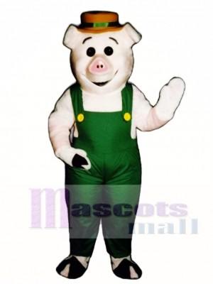 Bauer Ferkel Schwein Schwein mit Overalls & Hut Maskottchen Kostüm
