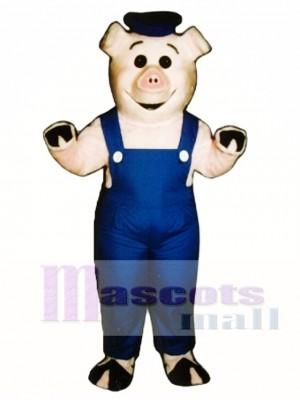 Niedlich Matrose Ferkel Schwein mit Overalls & Hut Maskottchen Kostüm