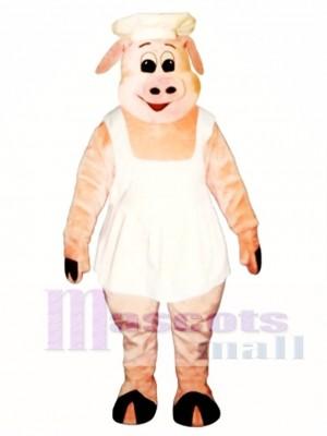 Chef Oink Schwein Schwein mit Schürze und Hut Maskottchen Kostüm