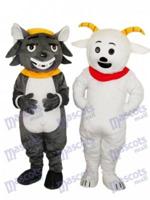 Angenehme Ziege & Grau Schlechtes Wolf Maskottchen Erwachsene Kostüm Tier