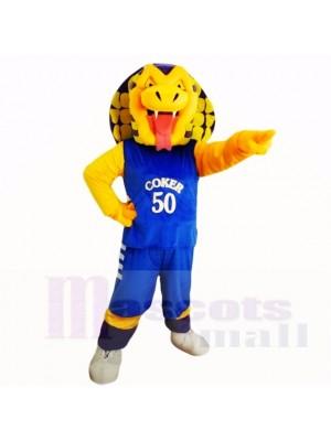 Sport Kobra Schlange mit Blau Hemd Maskottchen Kostüme Karikatur
