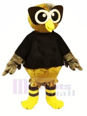 Braun Eule mit Schwarz T-Shirt Maskottchen Kostüme Karikatur