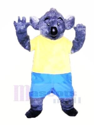 Pelzig Koala mit Gelb T-Shirt Maskottchen Kostüme Erwachsene