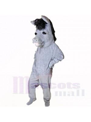 Lächelnd Grau Esel Maskottchen Kostüme Karikatur