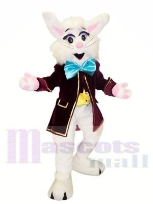 Weiß Hase mit Blau Bowknot Maskottchen Kostüme Tier