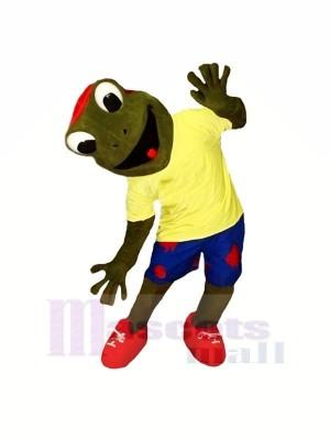 glücklich Frosch mit Gelb T-Shirt Maskottchen Kostüme Karikatur