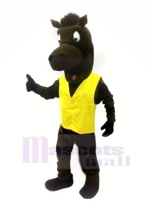 Schwarz Pferd mit Gelb Weste Maskottchen Kostüme