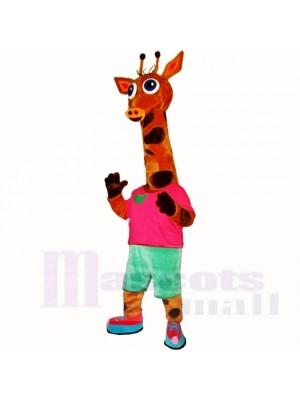 Sport Leicht Giraffe mit rot Hemd Maskottchen Kostüme Karikatur