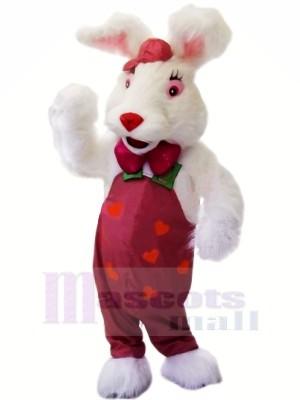 Weiß Hase mit rot Nase Maskottchen Kostüme Tier