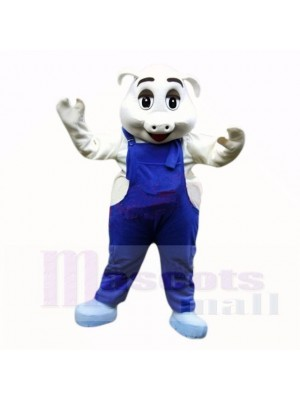 Sport Schwein mit Blau Overall Maskottchen Kostüme Schule