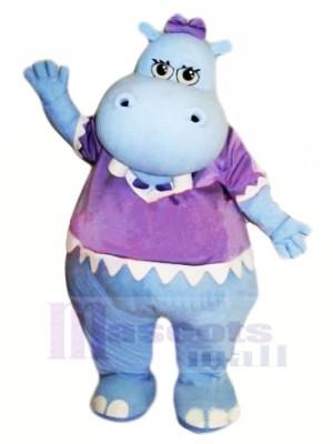 Blau Nilpferd mit Lila T-Shirt Maskottchen Kostüme Billig