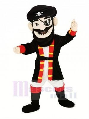 Bart Pirat im rot Mantel Maskottchen Kostüm Menschen