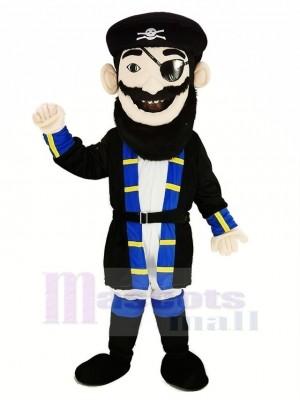 Bart Pirat im Blau Mantel Maskottchen Kostüm Menschen