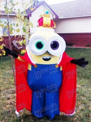 Despicable Me Minions König Bob Maskottchen Kostüm mit Cape Fancy Dress Outfit