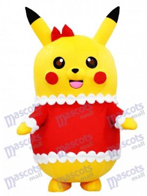 Pikachu Pokemon Pokémon Gehen Maskottchen Kostüm in Weihnachten Outfit mit Red Bow pikachu maskottchen kostuem