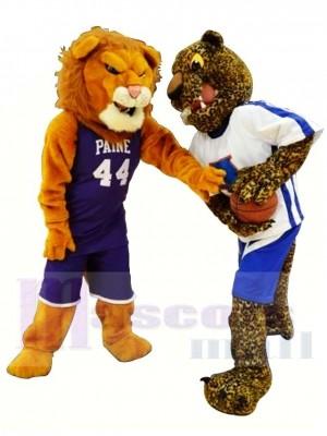 Sportlicher Löwe und Leopard Maskottchen Kostüm