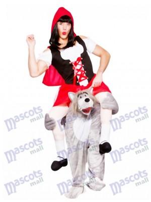Erwachsene tragen mich Wolf mit Rotkäppchen-Maskottchen-Kostüm-Abendkleid Halloween-Outfit