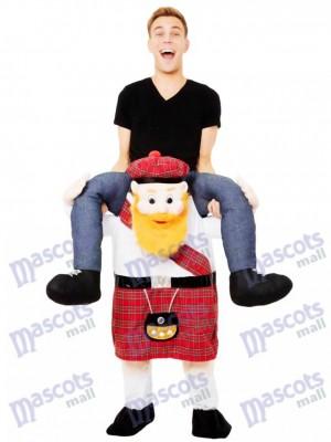 Schweinchen zurück Scotsman Carry Me Scottish Maskottchen Kostüm Fahrt auf Fancy Dress