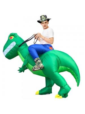 T-Rex Tragen mir Reiten auf Aufblasbar Kostüm Dinosaurier mit Groß Zähne Schlag oben Overall zum Erwachsener/Kind