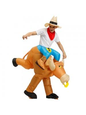 Cowboy Tragen mir Reiten auf Braun Stier Aufblasbar Halloween Weihnachten Kostüm zum Erwachsener/Kind