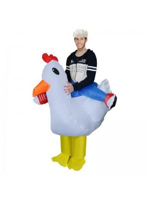 Weiß Hähnchen Tragen mich Reiten auf Aufblasbar Kostüm Schick Kleid Cosplay Kostüm zum Erwachsene